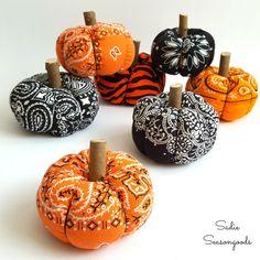 How to create a DIY country fabric pumpkin with an upcycled bandana for Halloween and autumn / fall by Sadie Seasongoods / www.sadieseasongoods.com