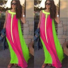 Women Summer Patchwork Loose Bohemian Maxi Dress Long