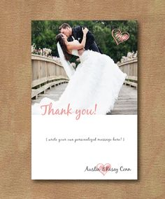 Modern Wedding Thank You Card with Photo and Hearts, Personalized Message - Custom Colors - 4 x 6 - Digital File - DIY Printable. $18.00, via Etsy.    xSimplyModernDesignx on Etsy