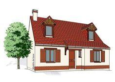 Modèle PC-05  Pavillon comprenant cuisine, séjour, salle de bains, WC et 1 chambre au rez-de-chaussée. 2 chambres, salle de bains à l'étage.  Surface Habitable : 81,65m²