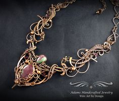 """""""Regalia -- Once Upon a Time"""". Rubies in Zoisite Gemstone Collar Necklace in Antiqued Copper by Daryl Adams of Adams Handcrafted Jewelry."""