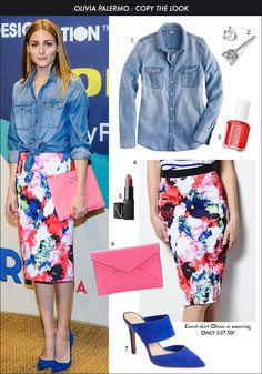 Olivia Palermo, Kohl's Floral Skirt, spring trends 2015, floral pencil skirt, chambray shirt with skirt
