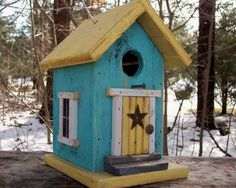 Turquoise Birdhouse Rustic Primitive Country Yellow Cozy Wren Chickadee Finch