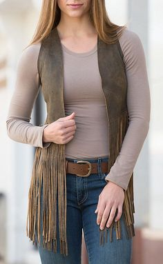 Sonia Fringed Lambskin Leather Vest | Overland Sheepskin