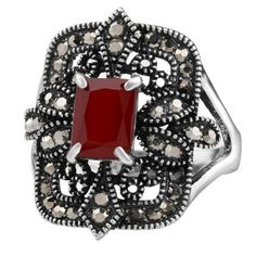 Vintage Artificial Gemstone Geometric Ring