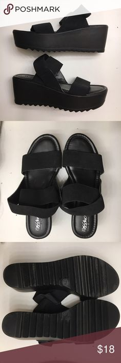 Platform Black Sandals Worn one time!! The straps are super stretchy elastic - very comfortable and easy to walk in! These can be totally casually or a perfect substitute for heels! Mossimo Supply Co. Shoes Sandals