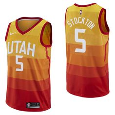 Men 5 David Stockton Jersey City edition Yellow Orange Utah Jazz 3fe7dcbc8