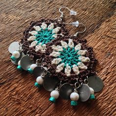Bohemian Gypsy Chandelier Earrings in Brown, Cream and Teal