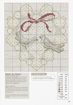 0 point de croix grille et couleurs de fils coeur et colombes