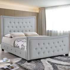 Add a new twist on classic decor with the Modway Claire queen size platform bed. Claire is a deep button tufted piece that exudes confidence alongside a soft spoken po Upholstered Queen Bed Frame, Diy King Bed Frame, Tufted Bed, Upholstered Platform Bed, Bed Sofa, Build A Headboard, Headboard And Footboard, Queen Headboard, Classic Bedroom Furniture
