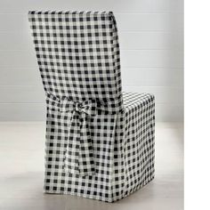 Black And White Gingham Chair Covers - The Best Chair Images Chair Back Covers, Dining Chair Covers, Table Linens, Table And Chairs, Buffalo Check Chair, Farmhouse Style Bedding, My Home Design, Country Style Homes, Modern Dining Chairs