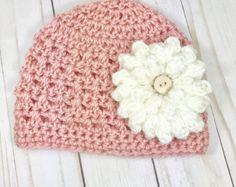 0-3 meses sombrero, sombrero del bebé niña con flor, sombrero del bebé niña, recién nacido sombrero, sombrero de bebé de ganchillo
