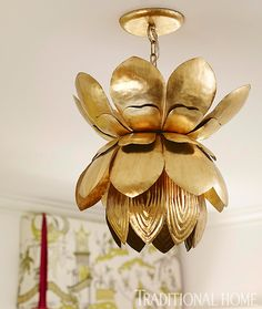 A blossoming gold leafed pendant light is a chic touch in a feminine space. - Traditional Home ® / Photo: Lisa Mowry / Design: Katie Rosenfeld Brass Chandelier, Chandeliers, Atlanta Homes, Home Photo, Cool Lighting, Lighting Ideas, Colorful Interiors, Design Interiors, Interior Design