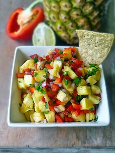 Food For Thought   Sweet and Spicy Pineapple Salsa – A fun twist on salsa, sure to spice up your next get-together.