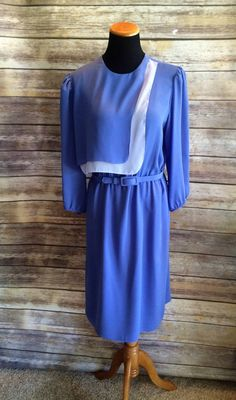 Sophisticated Periwinkle Blue Flowing Layered Office Dress with Belt Size 14 by CobbWebbTreasures on Etsy