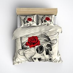 Fedora with Red Rose Skull Bedding