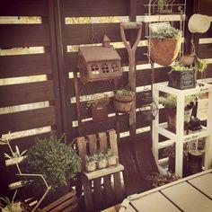 ウッドフェンス/ウッドデッキ/雑貨/ガーデニング♡/ダイソーグッズ/多肉…などのインテリア実例 - 2014-11-23 23:03:07   RoomClip(ルームクリップ) Balcony Garden, Log Homes, Ladder Decor, Fence, Garden Design, Shed, Home And Garden, Farmhouse, Flowers