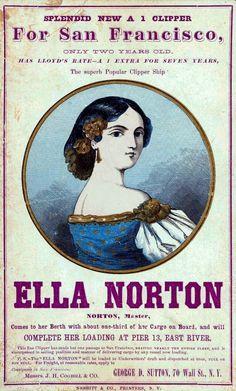 Ella Norton Clipper Ship trade card or sailing card reproduction New York to San…