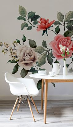 Beautiful blooms for your walls. This floral wallpaper features a number of stunning roses set against an ivory white background. Such a stark contrast adds interest to your walls and makes for a sophisticated feature wall. Perfect for bringing a vintage feel into your home and looks dazzling in dining areas.