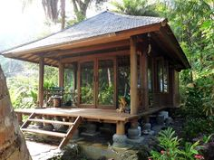 260 sq ft Balinese cottage by Mandala Homes as an enclosed aviary w/ portable spa and waterscape ~ ♡