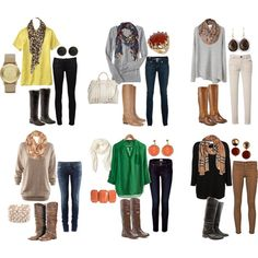Sweaters-Shirts-Blouses + Skinny Jeans + Scarves + Riding Boots