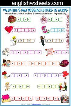 Valentine's Day Esl Printable Missing Letters in Words Worksheet For Kids #valentines #day #Esl #Printable #missing #Letters #words #Worksheet #language #arts #languagearts