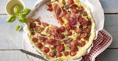 Tomato prosciutto and basil quiche