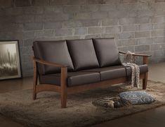 Baxton Studio Philbert Mid Century Modern Walnut Wood and Dark Brown Faux Leather 3 Seater Sofa