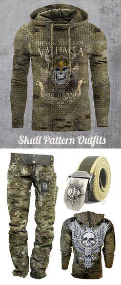 Blaroken Mens Skull Series Pattern Outfit