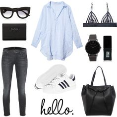 hello. by fashionlandscape on Polyvore featuring Mode, CP Shades, Hudson, Kiki de Montparnasse, adidas, CÉLINE, Thierry Lasry, Acne Studios, JINsoon and Larsson & Jennings