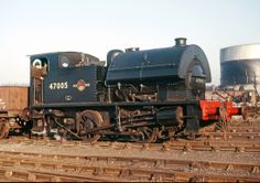 OF 0-4-0 Saddletank 47005 built at Horwich Works in 1953 but based on a 1932 Kitson design shuffles arouind Staveley Chemical works in 1964.