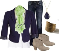 """""""Navy Blue and Lime Green"""" by chells-style on Polyvore"""