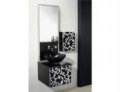 Yosemite Home Decor RASSGA12-68C - Single 17.5 in. W Black Vanity - RASSGA12-68C. RASSGA12-68C - Single 17.5 in. W Black Finish Vanity Beautiful in a black finish with decorative white design on compressed wood frame float to elevate intimacy in a touch of elegance without compromising utility. A matched s.. . See More Vanities at http://www.ourgreatshop.com/Vanities-C705.aspx