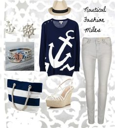 """Nautical Fashion Miles"" by danika-weddle ❤ liked on Polyvore"