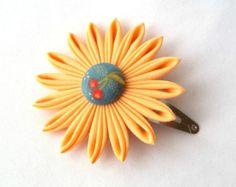 Peach and Blue Flower Barrette with Cherries Tsumami Kanzashi Flower Hair Clip