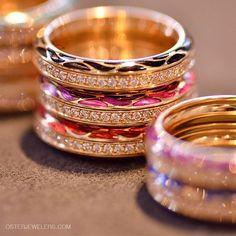 #colorful #diamondbands by #Wellendorff #genuinedelight #enameljewelry #diamondrings #ringstacks #goldrings #color #germandesigners #beautiful #pink #orange #Stackemup #denverjewelers #osterjewelers