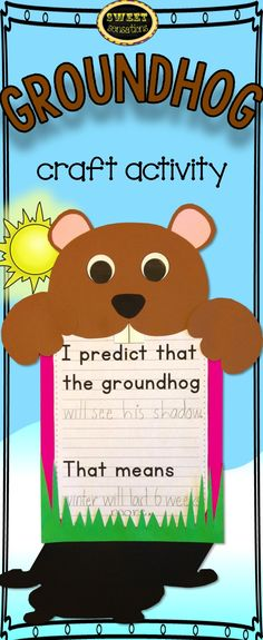 Will the ground hog see his shadow?  Cute craft and writing activity.  Groundhog Day is February 2.  $4.00