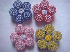 Brooch made from shoelace, flower whorl shape.  Can be customized to be hairpins, key chains, cellphone chains, and hair tie. Contact me at +6285 729 454 260