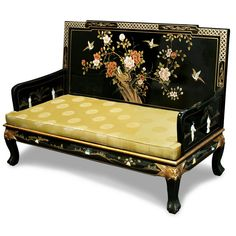 Amazing offer on ChinaFurnitureOnline Black Lacquer Love Seat, Hand Painted Floral Motif Grand Imperial Design Sofa Chair Longevity Yellow Silk Cushion Black Finish online - Greatstylegreatshop Accent Furniture, Living Room Furniture, Painted Furniture, Furniture Design, Chinese Furniture, Oriental Furniture, Asian Furniture, Sofa Seats, Sofa Chair