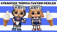Today I am making Steve and Robin dressed in their Scoops Ahoy uniforms in Perler Beads from Stranger Things season These designs were inspired by the Fun. Hama Beads Minecraft, Diy Perler Beads, Perler Bead Art, Pearler Beads, Fuse Beads, Stranger Things Steve, Stranger Things Season 3, Hama Beads Design, Perler Bead Templates