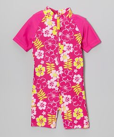 So it begins! This site is the best spot to nab great suits for your toddlers. Pink Sun Blossom One-Piece Rashguard by Baby Banz on #zulily today!