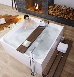 Just looking at the Mineral Bath Tub by Treos is enough to instill some peace of mind. This modern, free standing tub definitely has a natural luxury Big Bathtub, Bathtub Walls, Big Tub, Modern Bathtub, Modern Bathroom, Bathroom Ideas, Bathroom Trays, Standing Bathtub, Bathroom Bath