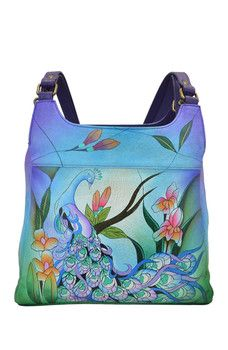 328344bf4b Anna by Anuschka - Hand-Painted Leather Medium Hobo Unique Purses