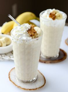 Caramelized Banana Bourbon Milkshakes by How Sweet Eats