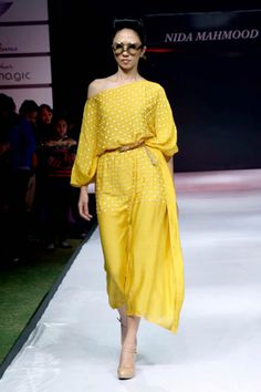 Resham Embroidered Yellow Ochre Kaftan