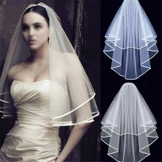 US $2.60 White/Ivory Bridal Elbow Satin Veil With Comb View Now: http://weddirect.co/products/whiteivory-bridal-elbow-satin-veil-with-comb/