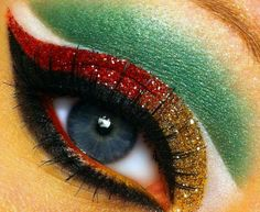 ".  Glittery Christmas Makeup.  I am not brave enough to do this, but I think it is cool.NEED IDEAS FOR A FUN UGLY CHRISTMAS SWEATER PARTY check out ""THE HOW TO PARTY IN UGLY CHRISTMAS SWEATER BOOK"" at Amazon.com-"