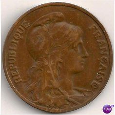 Scarce Rare Big 1908 10 Centimes France French Bronze Coin Beautiful AU!