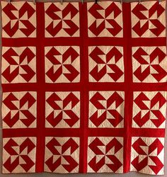 Antique Handmade Early 1900s Colorado Block Turkey Red White Quilt from Maine | eBay