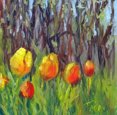 Fagan original miniature landscape tulips painting by faganstudio, $95.00
